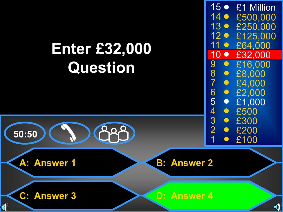 Enter £32,000 Question 15 £1 Million 14 £500,000 13 £250,000 12