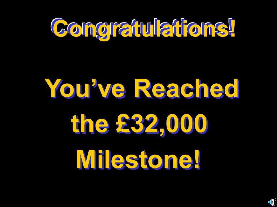 You've Reached the £32,000 Milestone! Congratulations!