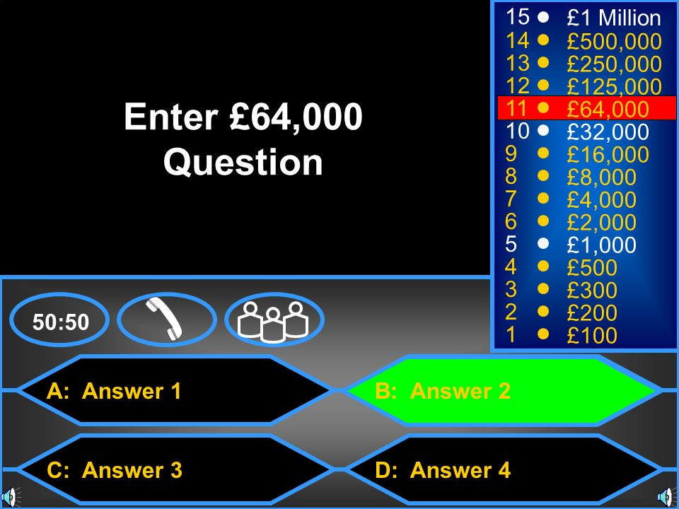 Enter £64,000 Question 15 £1 Million 14 £500,000 13 £250,000 12