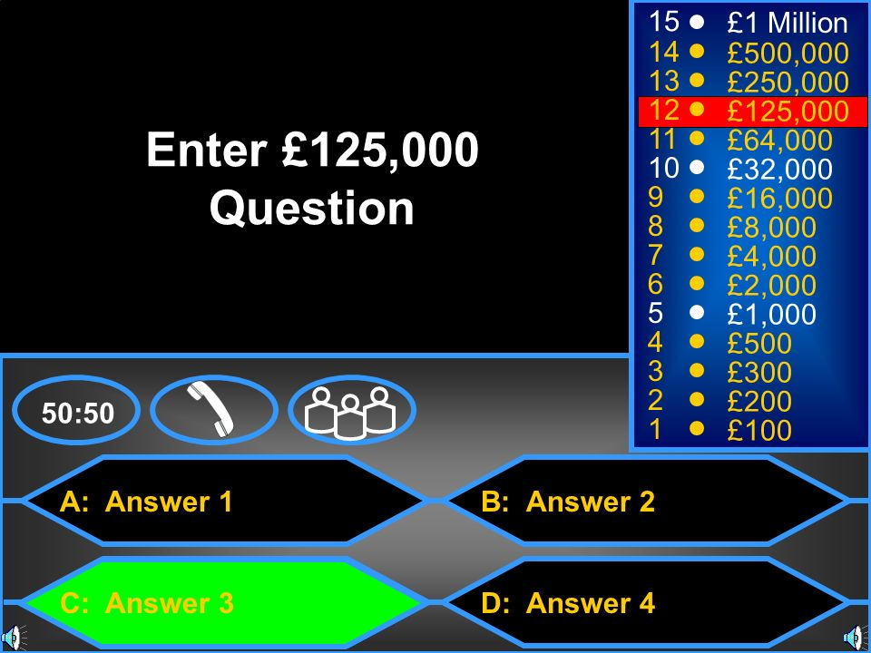 Enter £125,000 Question 15 £1 Million 14 £500,000 13 £250,000 12