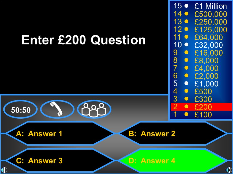 Enter £200 Question 15 £1 Million 14 £500,000 13 £250,000 12 £125,000