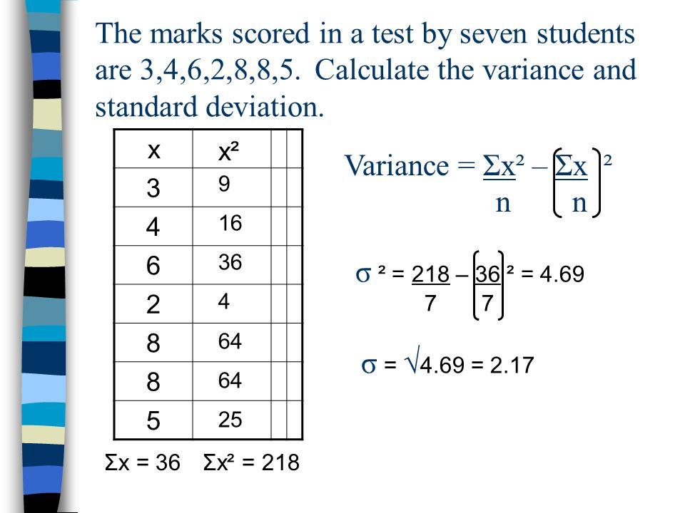 The marks scored in a test by seven students are 3,4,6,2,8,8,5