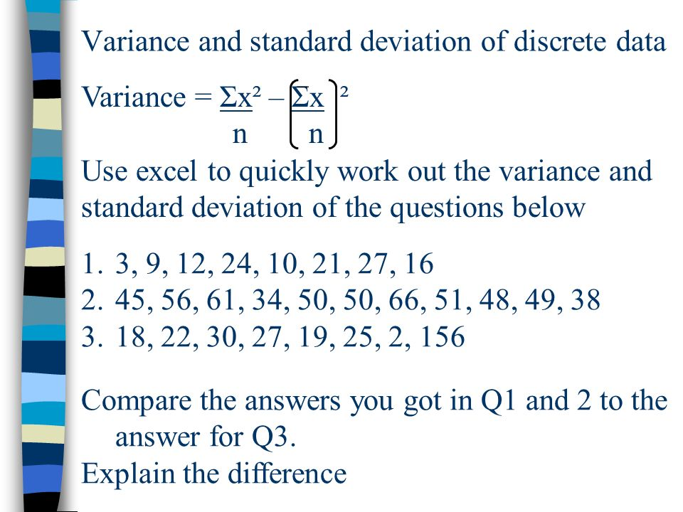 Variance and standard deviation of discrete data