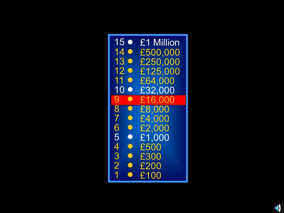 15 £1 Million. 14. £500,000. 13. £250,000. 12. £125,000. 11. £64,000. 10. £32,000. 9. £16,000.