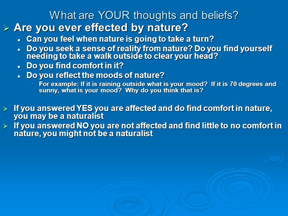 What are YOUR thoughts and beliefs