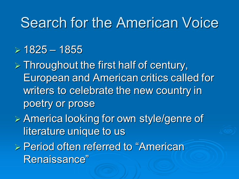 Search for the American Voice