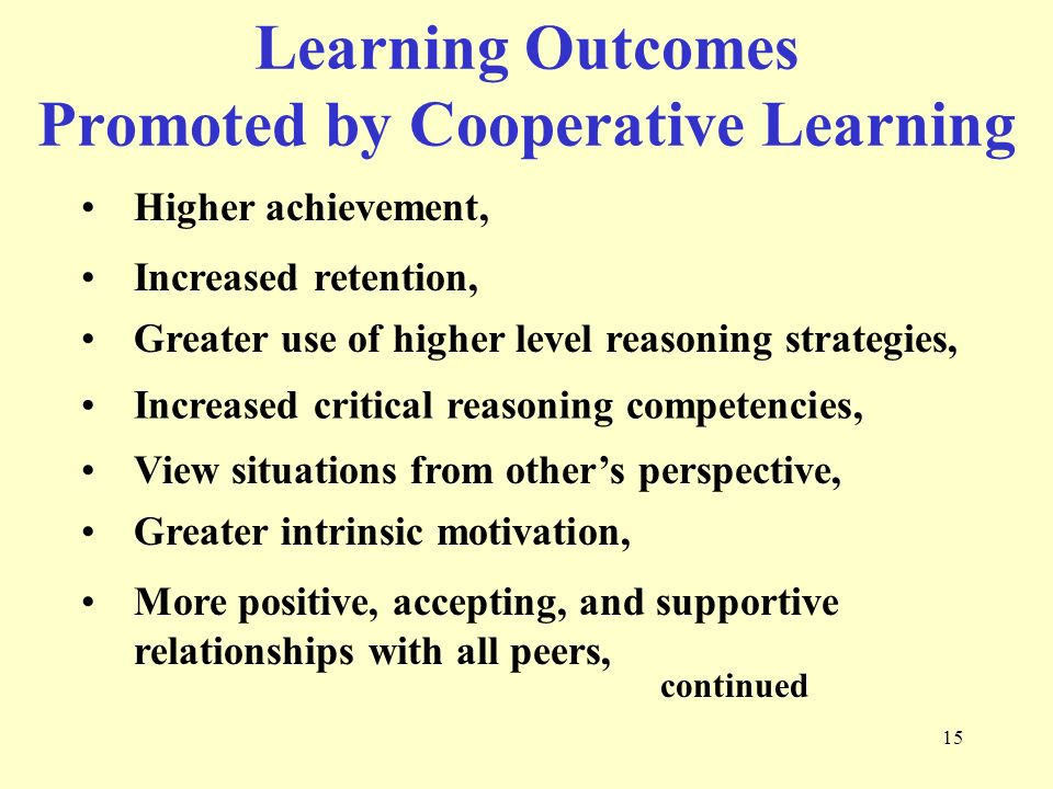 Learning Outcomes Promoted by Cooperative Learning