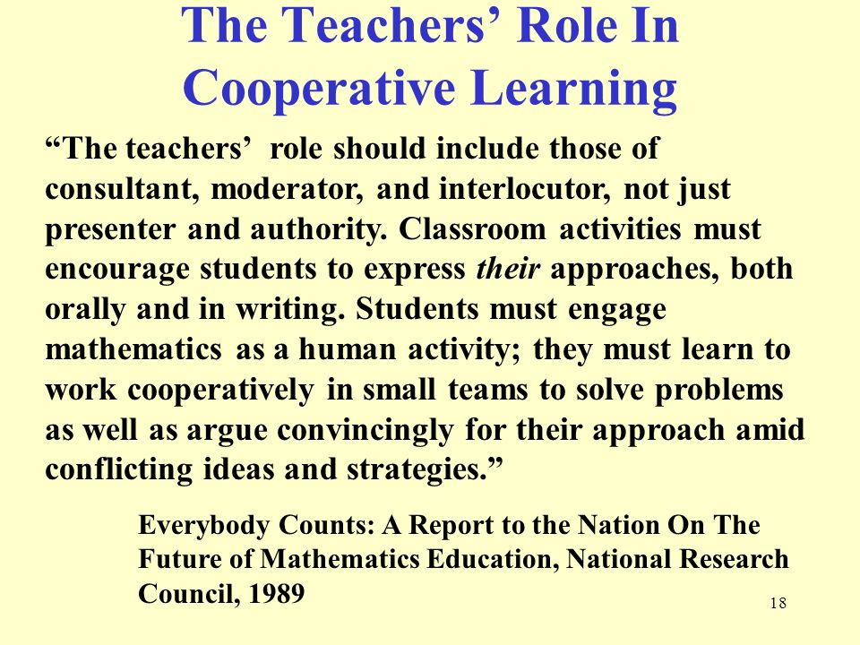 The Teachers' Role In Cooperative Learning