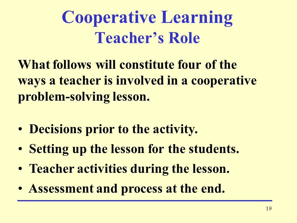 Cooperative Learning Teacher's Role