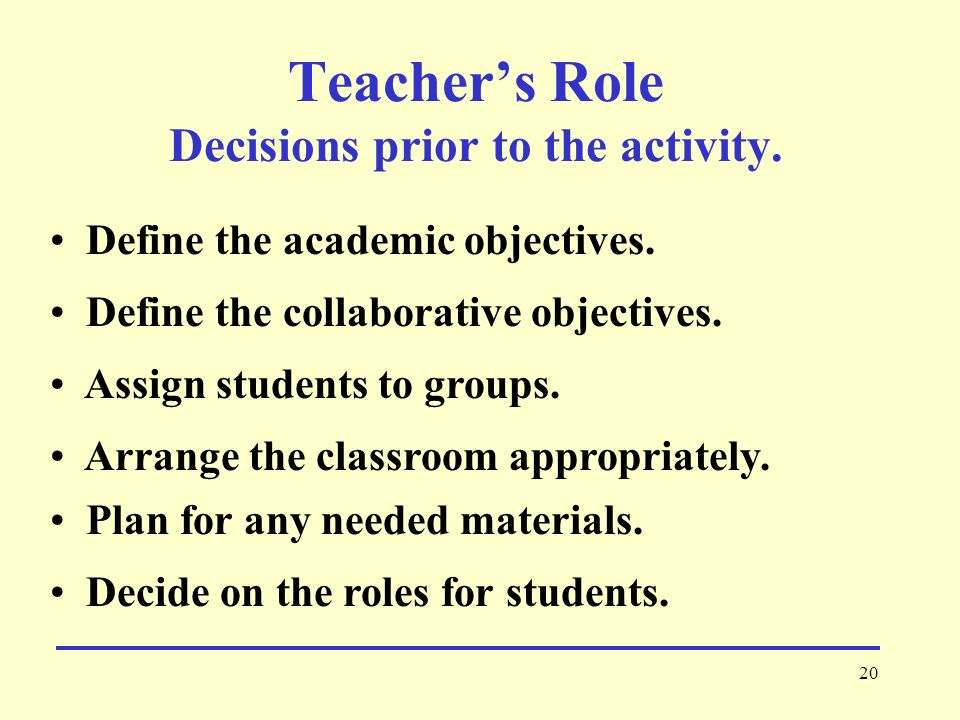 Teacher's Role Decisions prior to the activity.