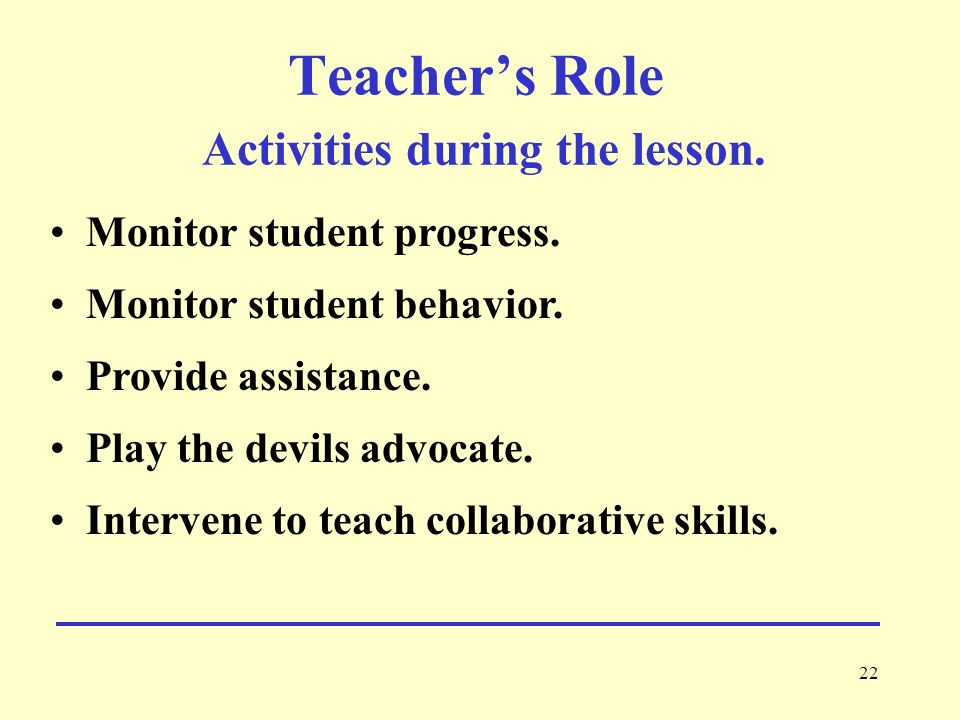 Teacher's Role Activities during the lesson.