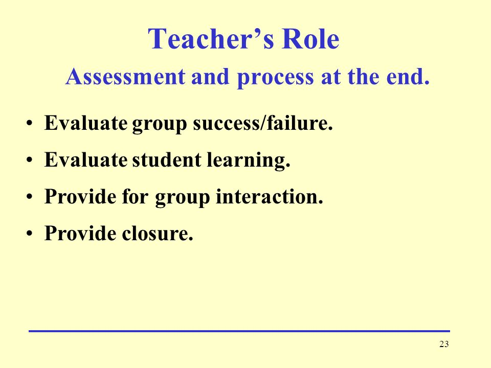 Teacher's Role Assessment and process at the end.