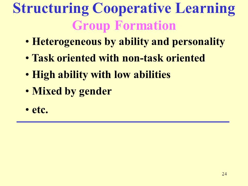 Structuring Cooperative Learning Group Formation