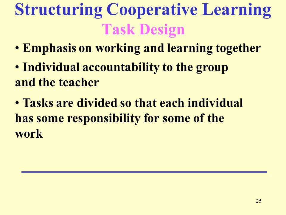 Structuring Cooperative Learning Task Design