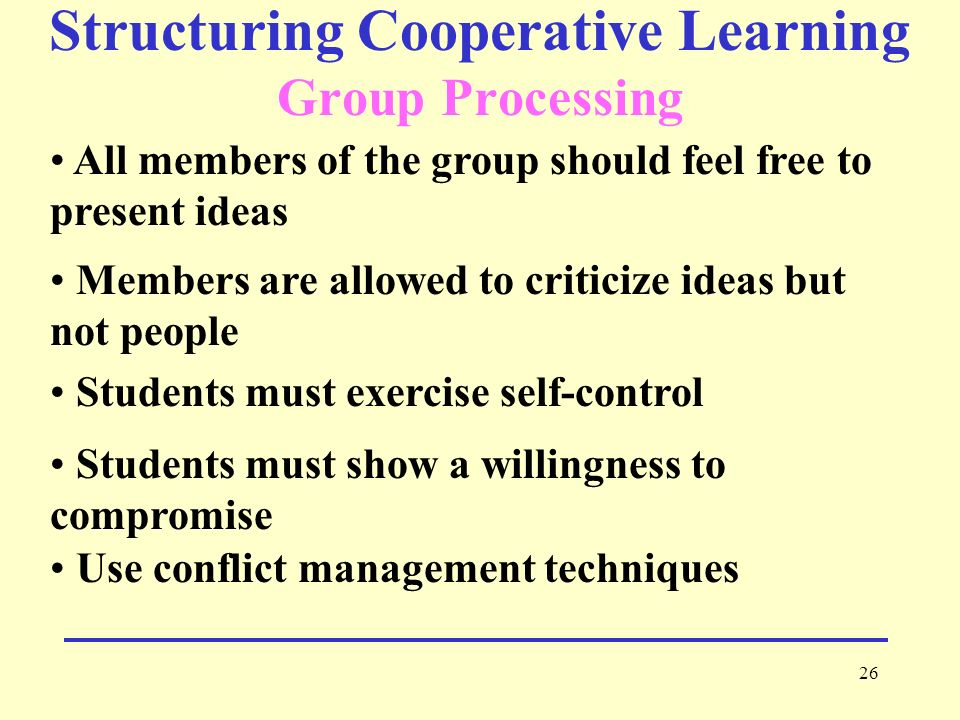 Structuring Cooperative Learning Group Processing