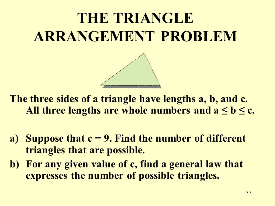 THE TRIANGLE ARRANGEMENT PROBLEM