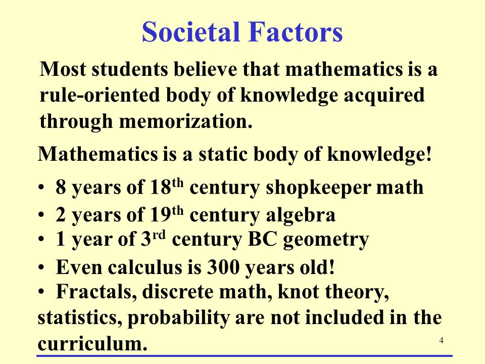 Societal Factors Most students believe that mathematics is a rule-oriented body of knowledge acquired through memorization.