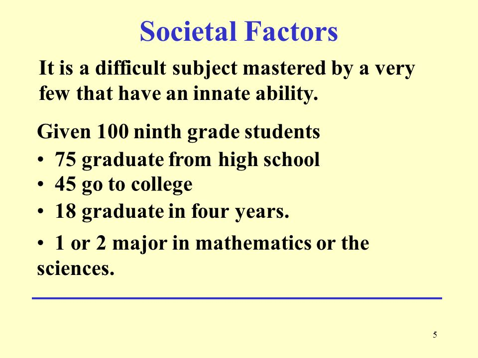 Societal Factors It is a difficult subject mastered by a very few that have an innate ability. Given 100 ninth grade students.
