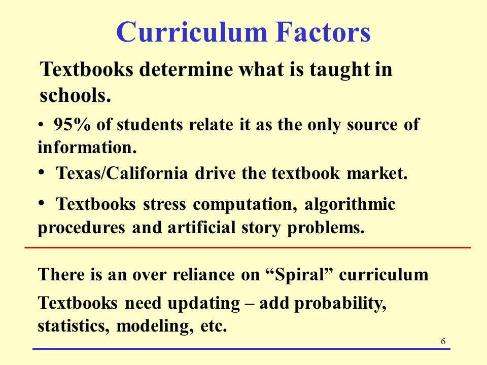 Curriculum Factors Textbooks determine what is taught in schools.