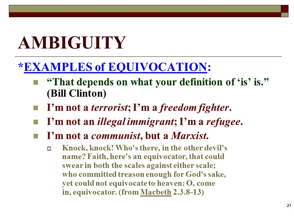 Ambiguity & Equivocation in Macbeth