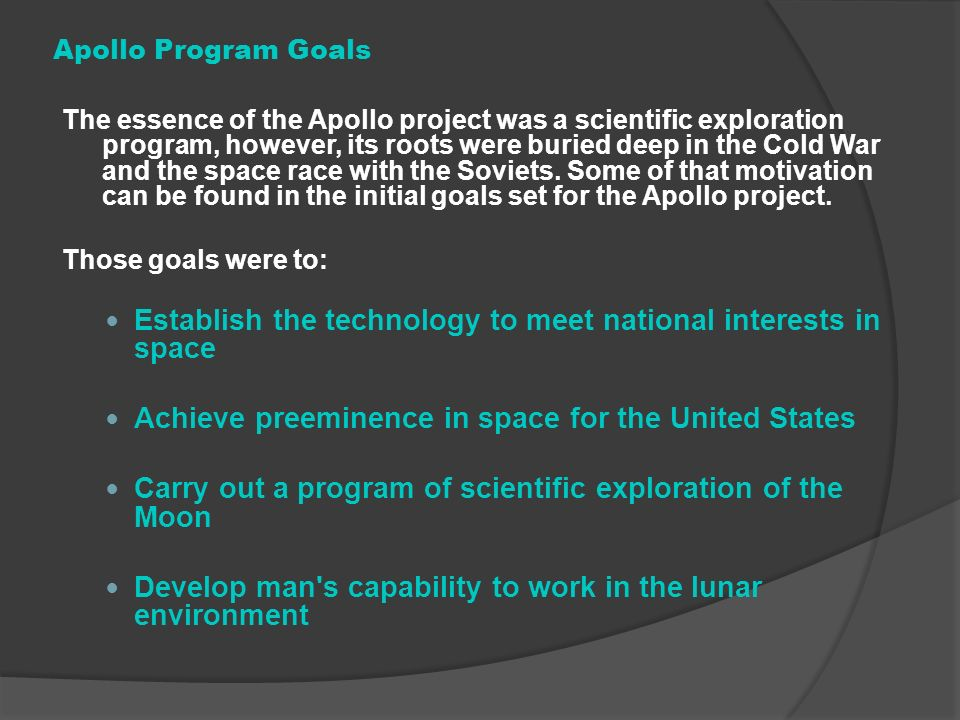 Establish the technology to meet national interests in space