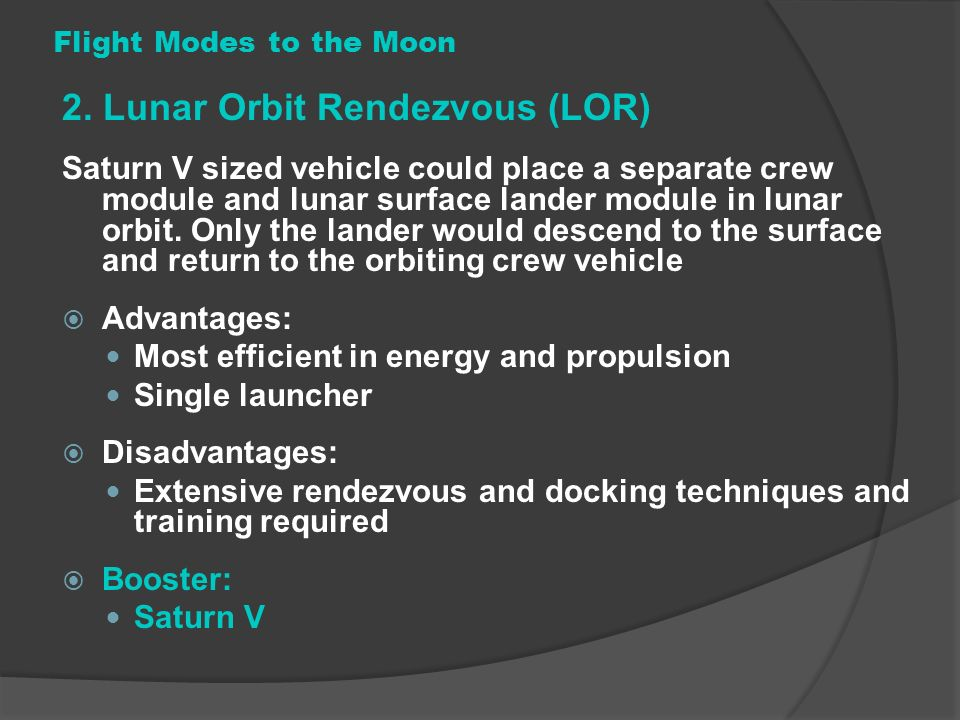 Flight Modes to the Moon
