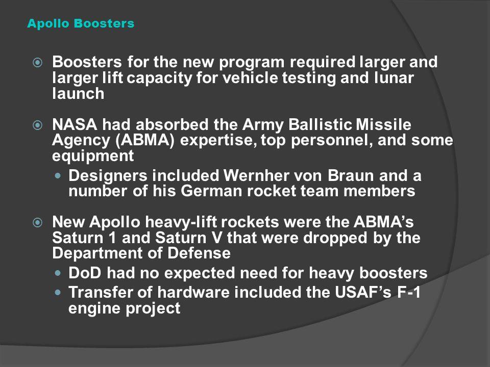 DoD had no expected need for heavy boosters