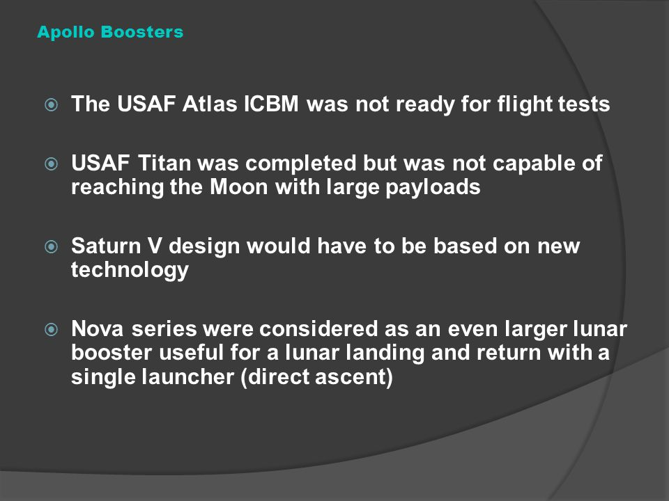 The USAF Atlas ICBM was not ready for flight tests