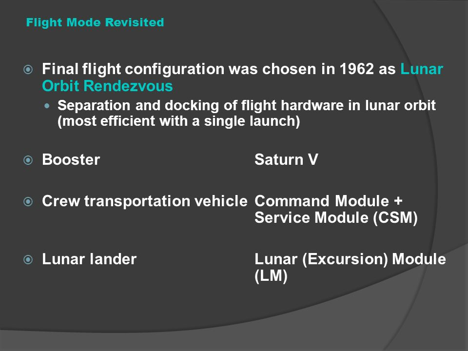 Crew transportation vehicle Command Module + Service Module (CSM)