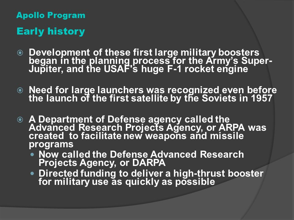 Now called the Defense Advanced Research Projects Agency, or DARPA