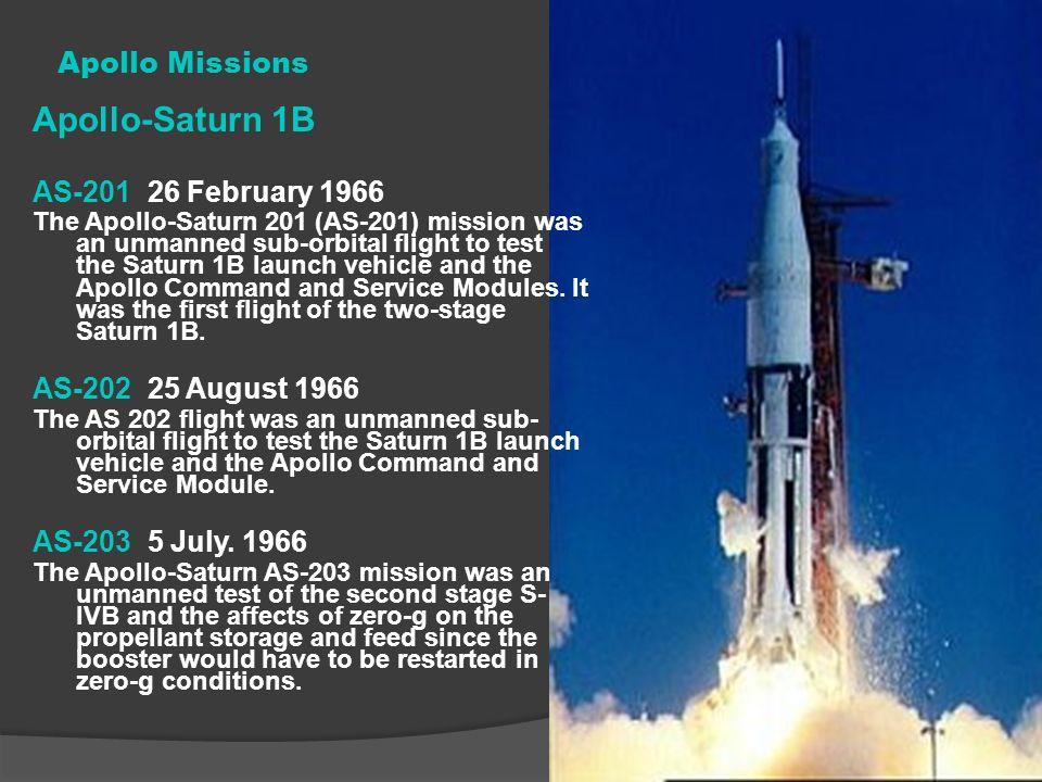Apollo-Saturn 1B Apollo Missions AS-201 26 February 1966