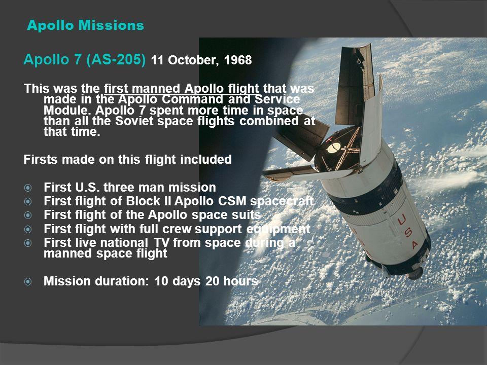 Apollo 7 (AS-205) 11 October, 1968 Apollo Missions