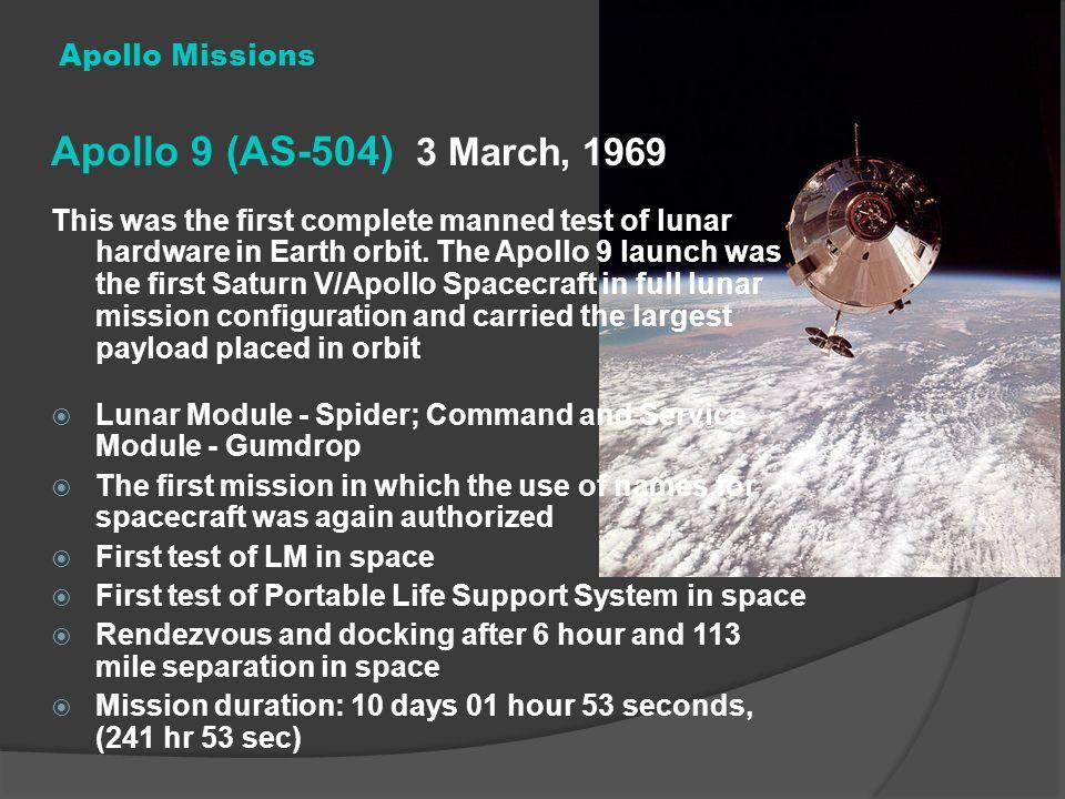 Apollo 9 (AS-504) 3 March, 1969 Apollo Missions