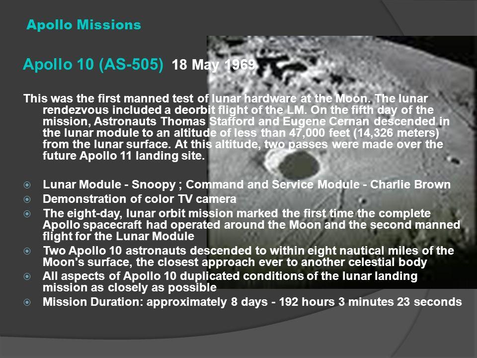 Apollo 10 (AS-505) 18 May 1969 Apollo Missions