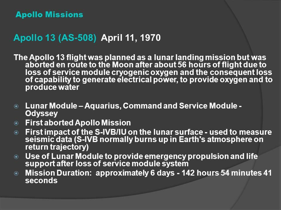 Apollo 13 (AS-508) April 11, 1970 Apollo Missions