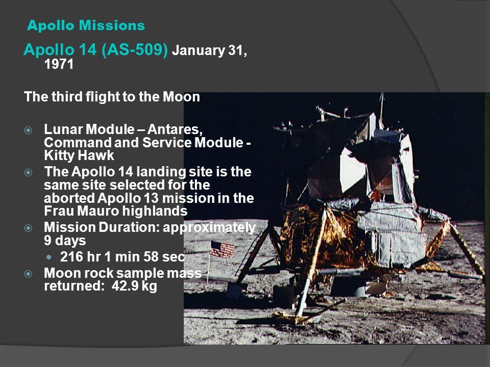 Apollo 14 (AS-509) January 31, 1971 Apollo Missions