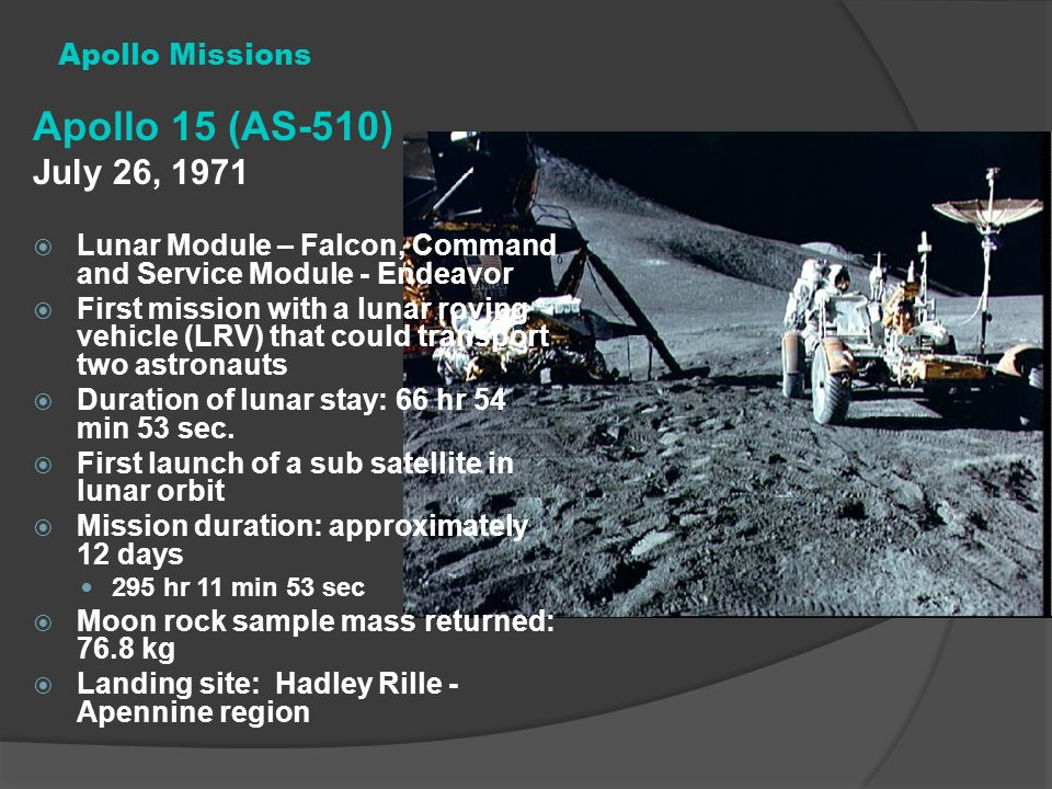 Apollo 15 (AS-510) July 26, 1971 Apollo Missions