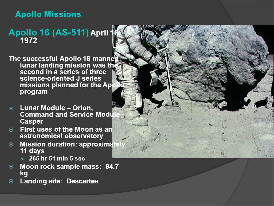 Apollo 16 (AS-511) April 16, 1972 Apollo Missions