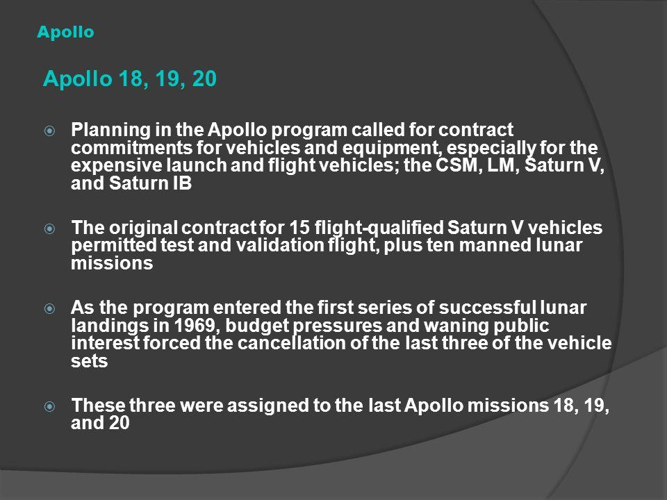 Apollo Apollo 18, 19, 20.