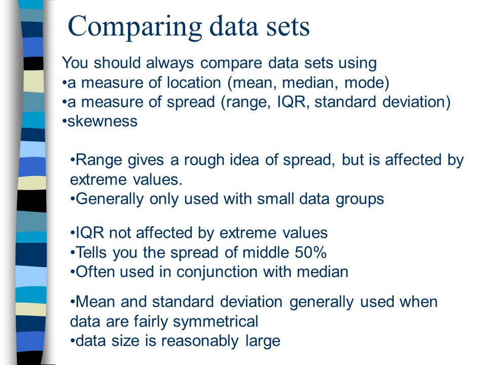 Comparing data sets You should always compare data sets using