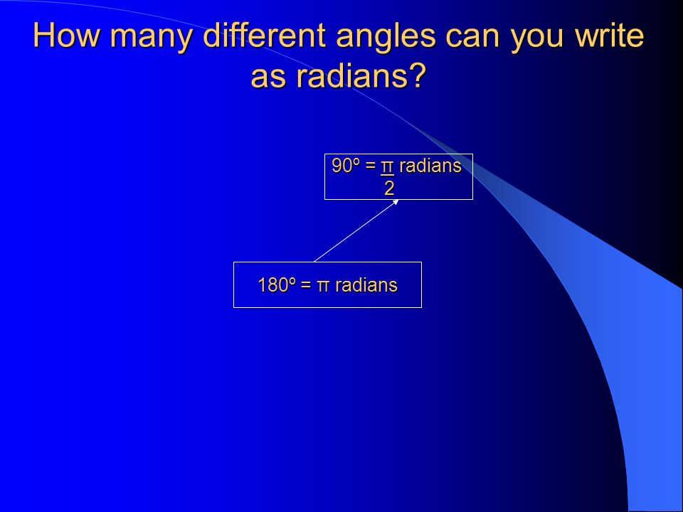 How many different angles can you write as radians