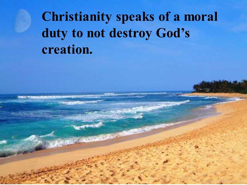 Christianity speaks of a moral duty to not destroy God's creation.