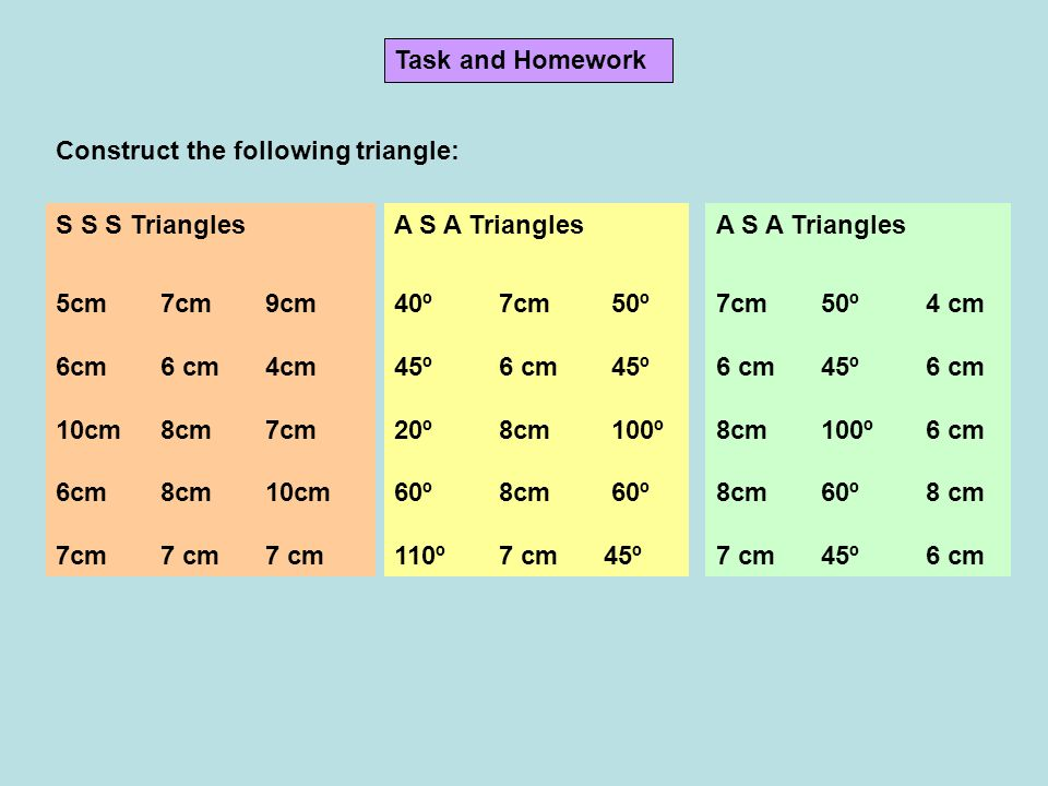 Task and Homework Construct the following triangle: S S S Triangles. 5cm 7cm 9cm. 6cm 6 cm 4cm. 10cm 8cm 7cm.
