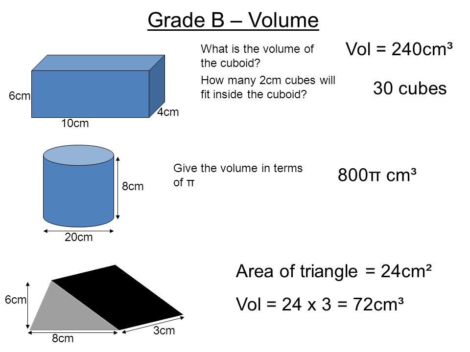 Grade B – Volume Vol = 240cm³ 30 cubes 800π cm³