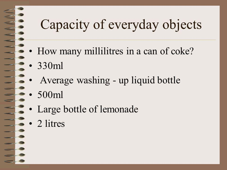 Capacity of everyday objects
