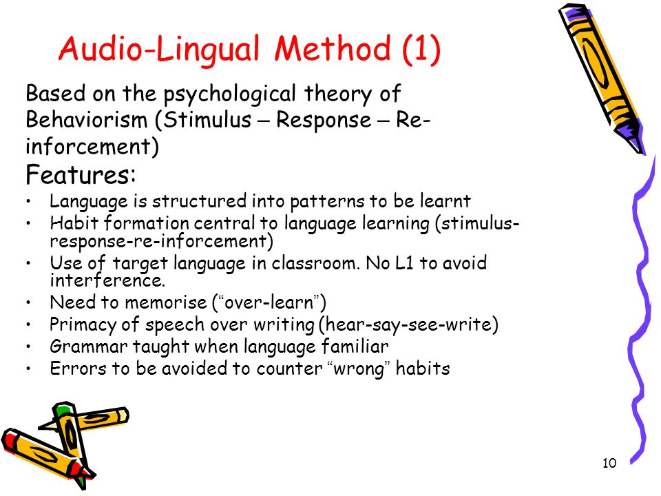 thesis work on audio lingual method The thesis focuses on the benefits of project work therefore the research  hypothesis  audio-lingual method was developed during wwii in the usa at  that.