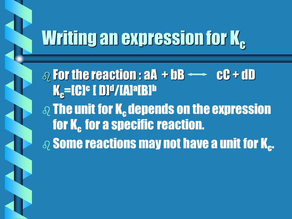 Writing an expression for Kc