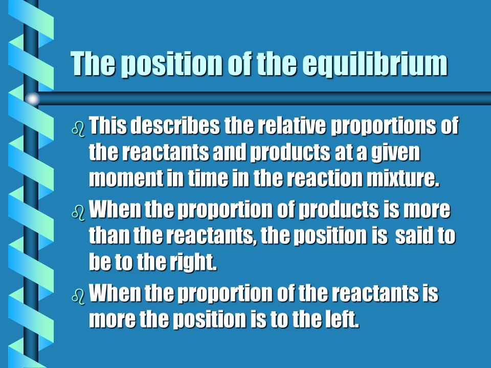 The position of the equilibrium