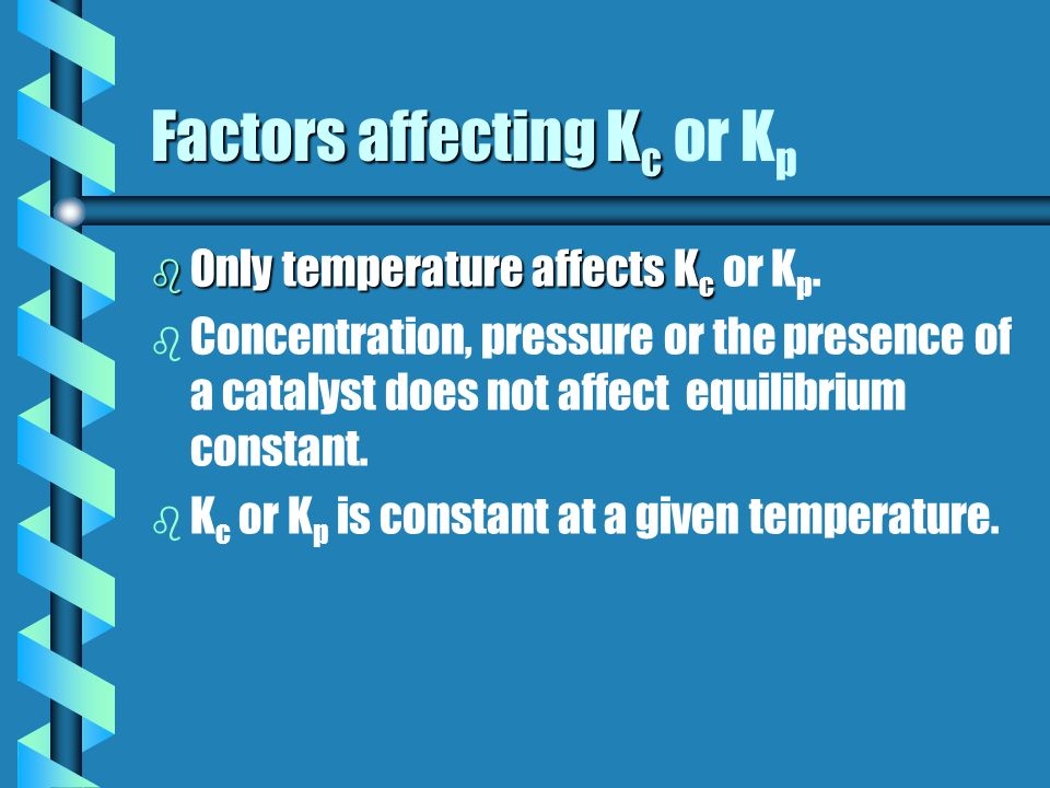Factors affecting Kc or Kp