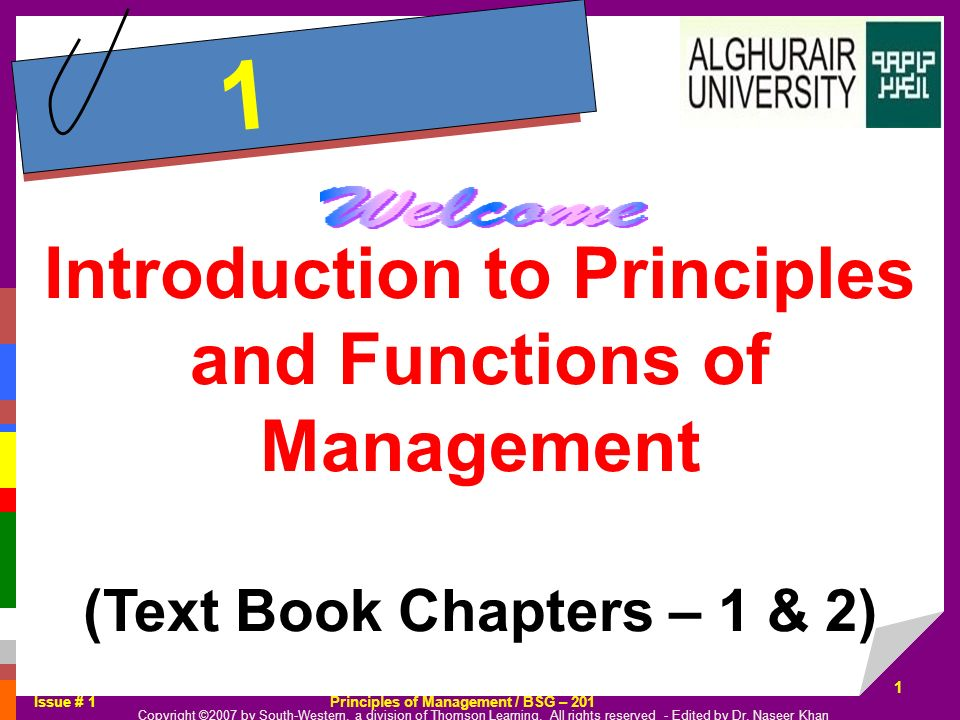 1 Introduction to Principles and Functions of Management (Text Book Chapters – 1 & 2)